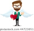 Businessman angel and Red Heart 44723651