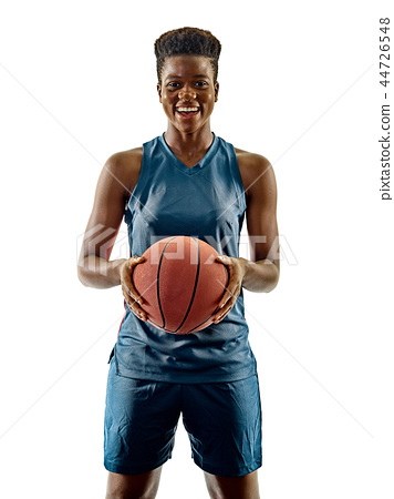 Basketball players woman teenager girl isolated shadows 44726548