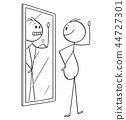 Cartoon of Fat Obese Overweight Man Looking at Himself in the Mirror and Seeing Yourself Thin and in 44727301