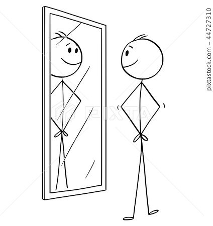 Cartoon of Smiling Cheerful Man Looking at Himself in the Mirror 44727310