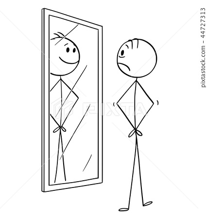 Cartoon of Sad Man Looking at Himself in the Mirror but Seeing Smiling Cheerful Yourself 44727313