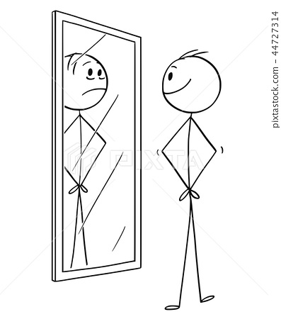 Cartoon of Smiling Cheerful Man Looking at Himself in the Mirror but Seeing Sad Depressed Yourself 44727314