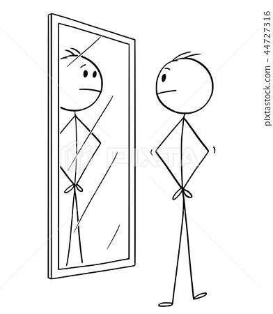 Cartoon of Man Looking at Himself in the Mirror 44727316