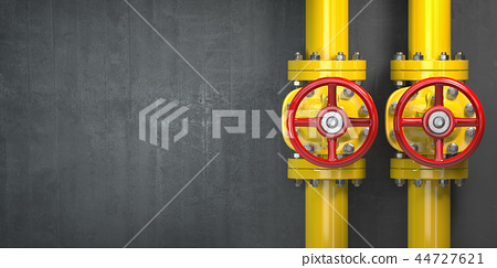 Gas pipeline valve on a wall. Space for text 44727621