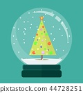 Christmas snow globe with a fir-tree inside in flat style. New year glass ball 44728251