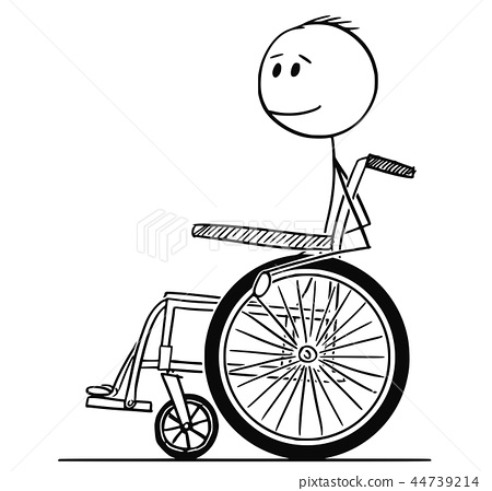 Cartoon of Smiling Disabled Man Sitting on Wheelchair 44739214