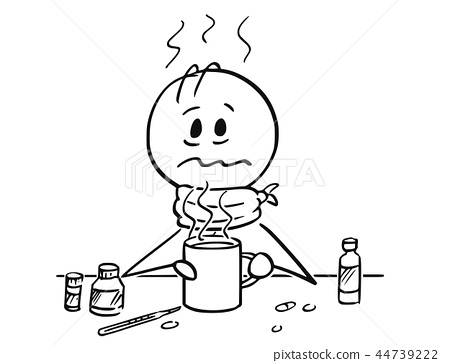 Cartoon of Sick Man With Influenza and Fever Drinking Hot Tea. 44739222