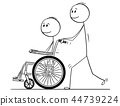 Cartoon of Man Pushing a Wheelchair With Disabled Man 44739224