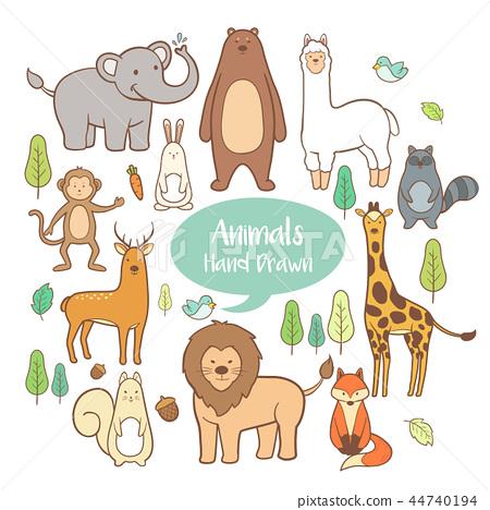 Cute animal set elements in hand drawn cartoon  44740194