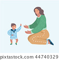 Mother playing with her little son on the floor 44740329