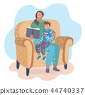Mother reading book with her son on the chair 44740337