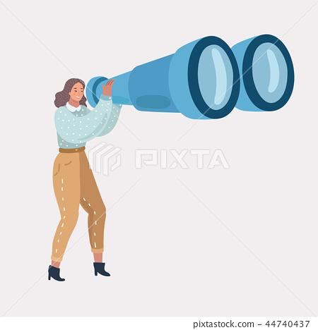Girl with big binoculars 44740437