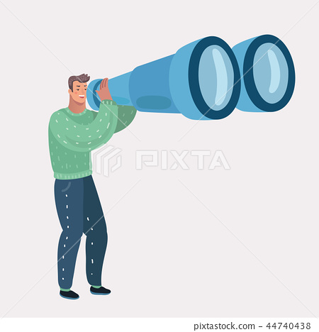 Man looking through binocular. 44740438