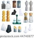 Salt shaker vector design pepper bottle glass container and wooden kitchen utensil saltshaker decor 44740977