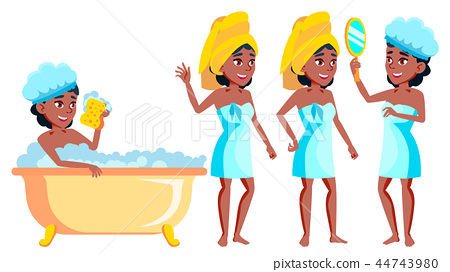 Teen Girl Poses Set Vector. Black. Afro American. Activity, Beautiful. For Postcard, Cover, Placard 44743980
