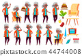Old Woman Poses Set Vector. Black. Afro American. Elderly People. Senior Person. Aged. Positive 44744008