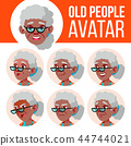 Old Woman Avatar Set Vector. Black. Afro American. Face Emotions. Senior Person Portrait. Elderly 44744021