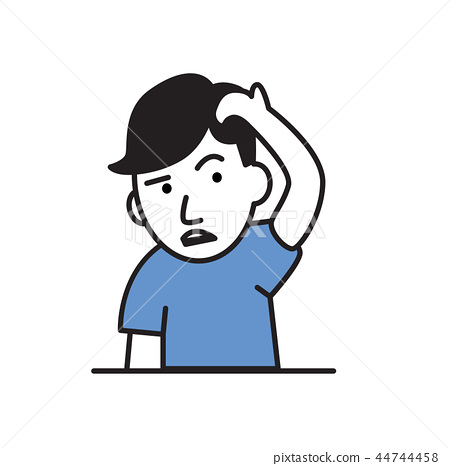 Young man holding hand to his head. Forgetfulness, headache. Flat vector illustration. Isolated on 44744458