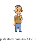 Young sick man with handkerchief in his hand. Lung disease. Cartoon design icon. Flat vector 44744513