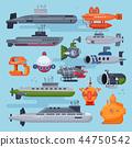 Submarine vector sea pigboat or marine sailboat underwater and ship transport in deep ocean 44750542