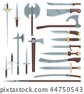Sword vector medieval ancient weapon of knight with sharp blade and pirates knife illustration 44750543