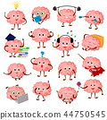 Brain emotion vector cartoon brainy character expression emoticon and intelligence emoji studying 44750545