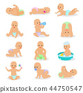 Baby vector newborn infant child playing with childish toys and cartoon smiling kid washing 44750547