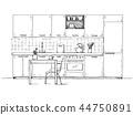Hand drawn kitchen furniture. 44750891
