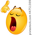 Making a point emoticon with closed eyes 44751309