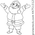 outlined cheerful santa 44751312