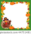 Turkey in a hat waving his wing next to the frame 44751481