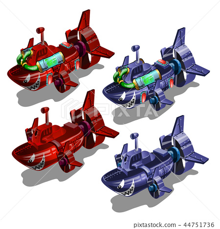 Set of submarines in the style of multi-colored toothy fish isolated on white background. Vector 44751736