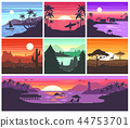 Sunset vector sunrise with Hawaii palms or mountain silhouette on backdrop illustration set of 44753701