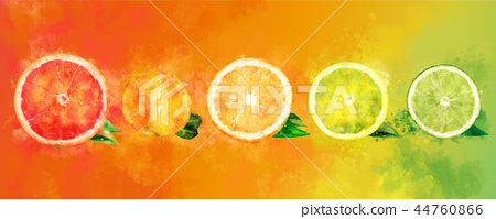 Watercolor orange, lemon, citrus, mandarin, grapefruit and lime 44760866