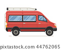 Red Family Minivan in Flat Design 44762065