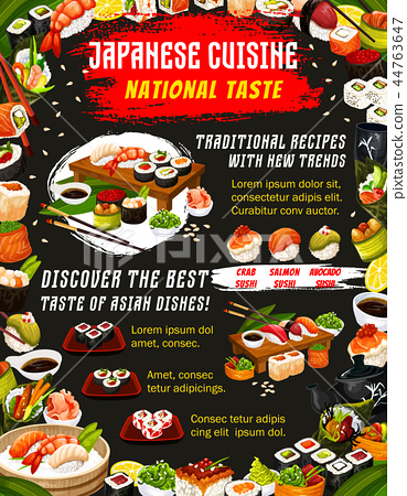 Japanese food cuisine and sushi bar menu 44763647