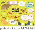 森林动物例证和气球材料 44764143