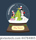 Christmas snow globe with penguins illustration 44764865