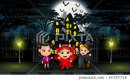Happy halloween celebrate in front of the hounted  44765739