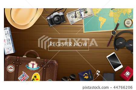 Top view on travel and tourism concept template 44766206