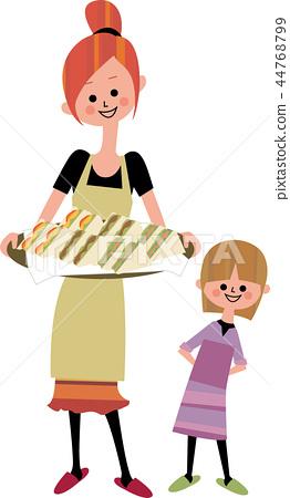 엄마와 딸과 샌드위치 44768799