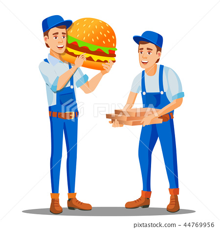 Pizza, Fast Food Delivery Man In Uniform And Pizza Boxes, Huge Burger In Hand Vector. Isolated 44769956