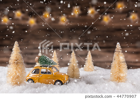 Christmas decoration on wooden background 44770907
