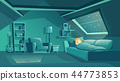 Vector attic room at night with sleeping boy 44773853