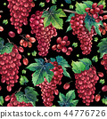 Watercolor pattern of redgrapes bunches 44776726