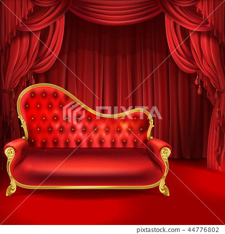 Theater concept, red sofa, scene curtains 44776802