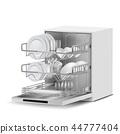 realistic dishwasher machine with dishes 44777404