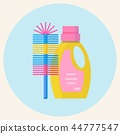 Plastic bottle of cleaning product and brush. 44777547