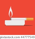 Round ceramic ashtray with cigarette. Vector illustration. 44777549