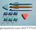Pens, elastic and paper clips in soothing colors 44777759